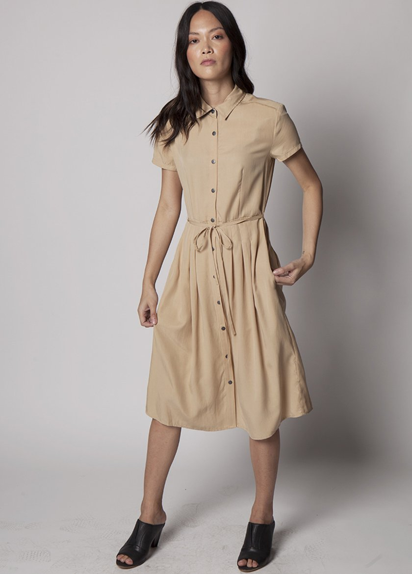 KHAKI DRESS WITH BUTTONS AND DRAW STRING WAIST