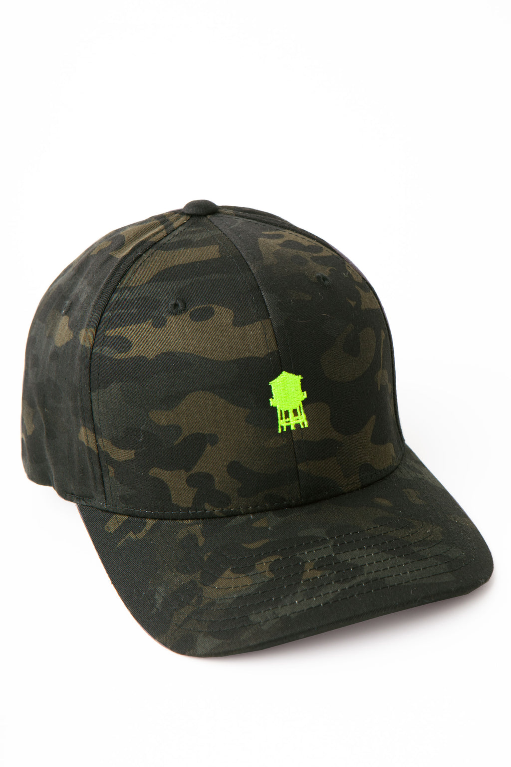 Baseball cap in dark camp with neon green water tower embroidery on front panel.