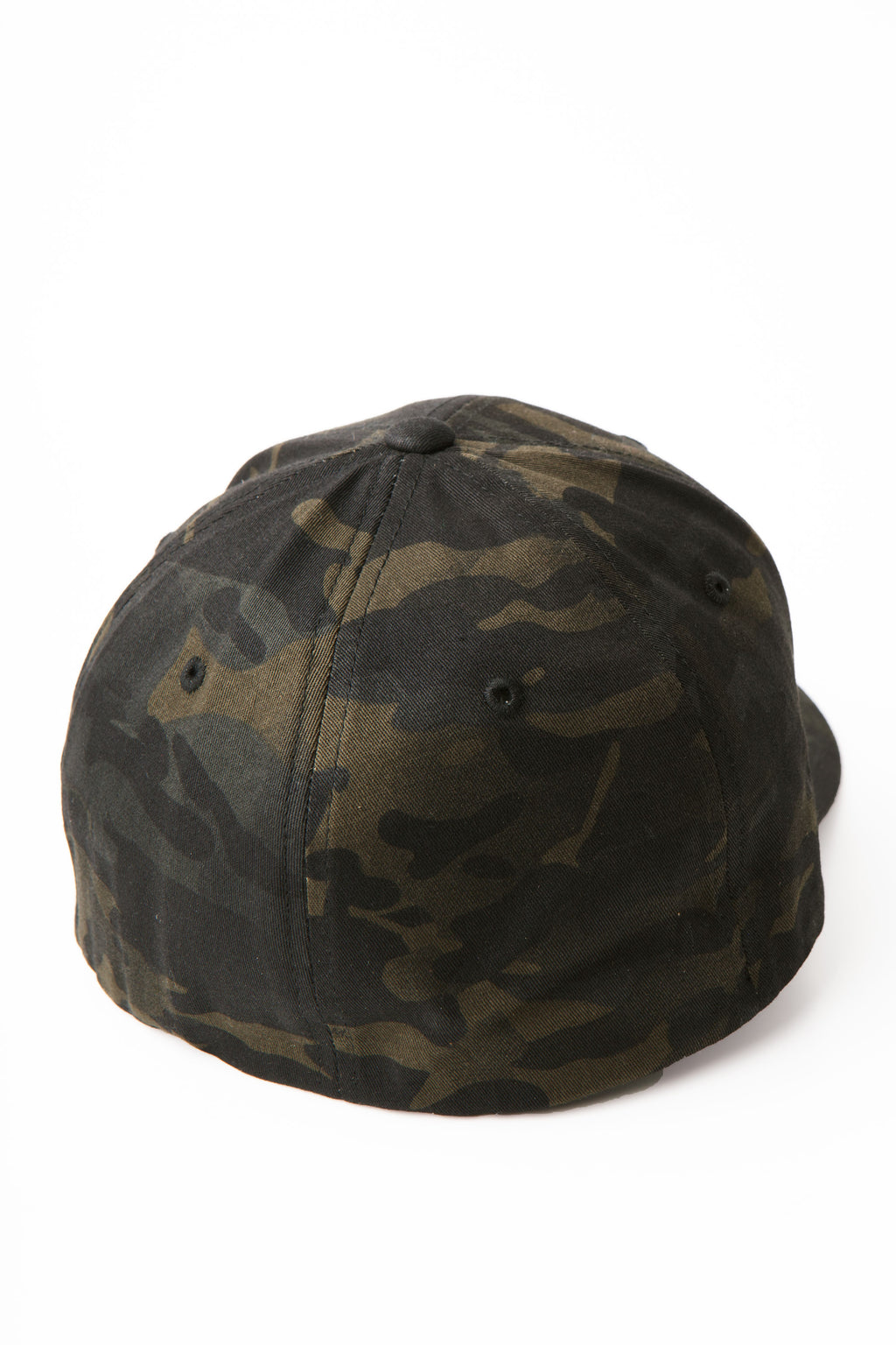 The back of the camo baseball cap showing a flat non-adjustable back