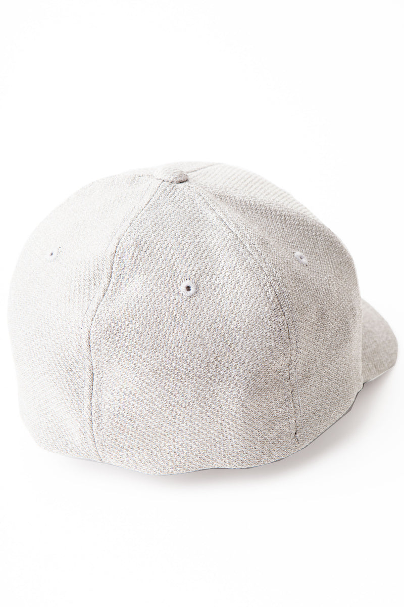 Back of baseball cap in light grey showing eyelets and no embroidery.