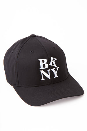 Black embroidered baseball cap with the letters BK and then NY stacked on top of each other in white.