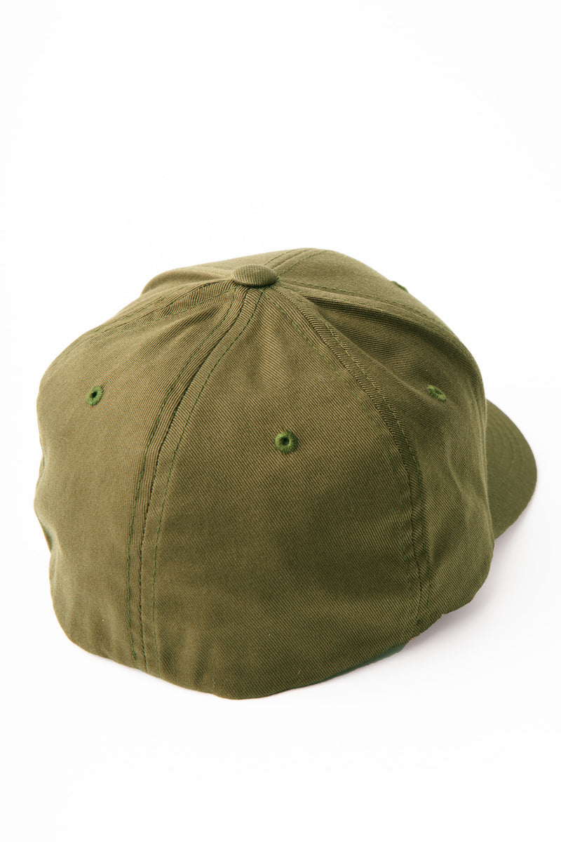 Back view of the baseball cap showing eyelets and 6 panels.