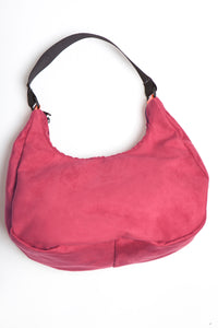 Burgundy viola vegan suede tote with black handle.