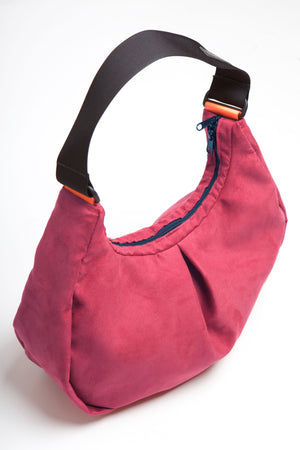 Viola suede cross body bag image from above with front fold.