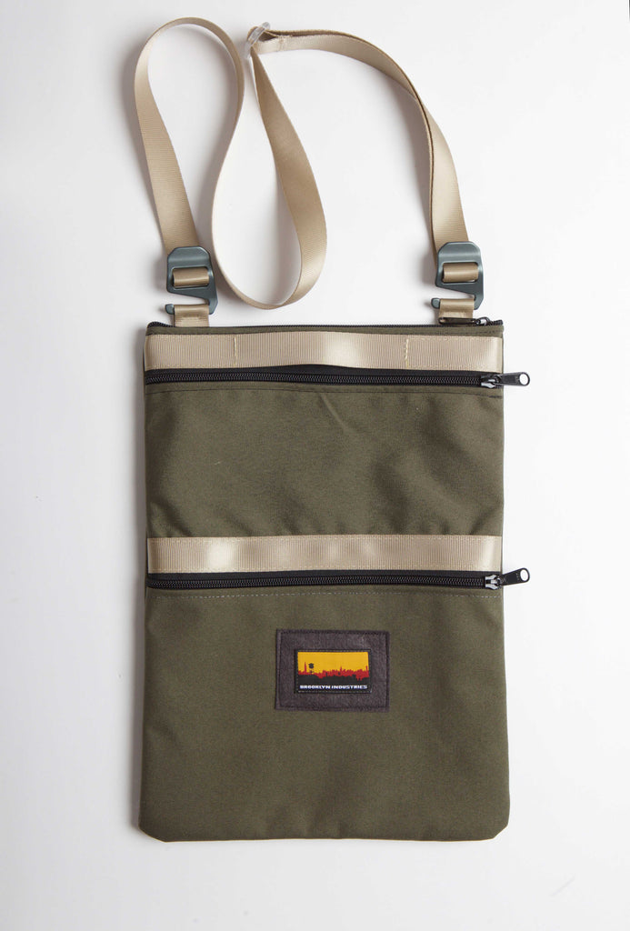 OLIVE CANVAS 13'' LAPTOP BAG WITH STURDY WEBBING STRAPS