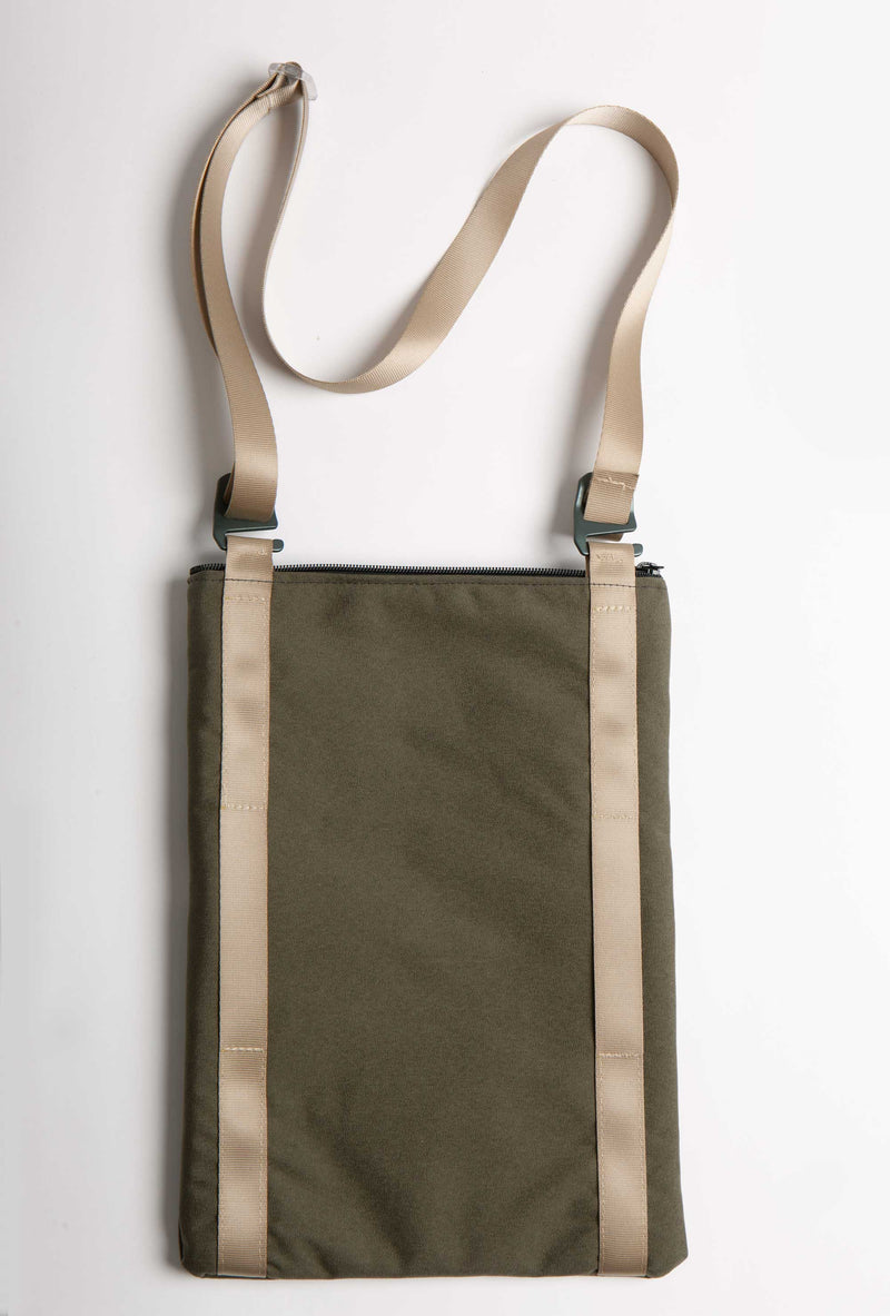 BACK VIEW OF OLIVE CANVAS 13'' LAPTOP BAG WITH STURDY WEBBING STRAPS
