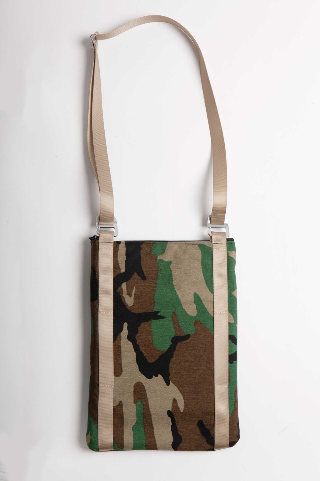 "BACK VIEW OF FLAT LAY IMAGE OF 13"" LAPTOP BAG IN WOODLAND CAMO WITH KHAKI WEBBING"