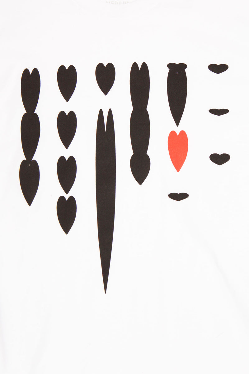 CLOSE UP OF GRAPHIC OF BLACK HEARTS IN VARIOUS SHAPES OF DISTORTION