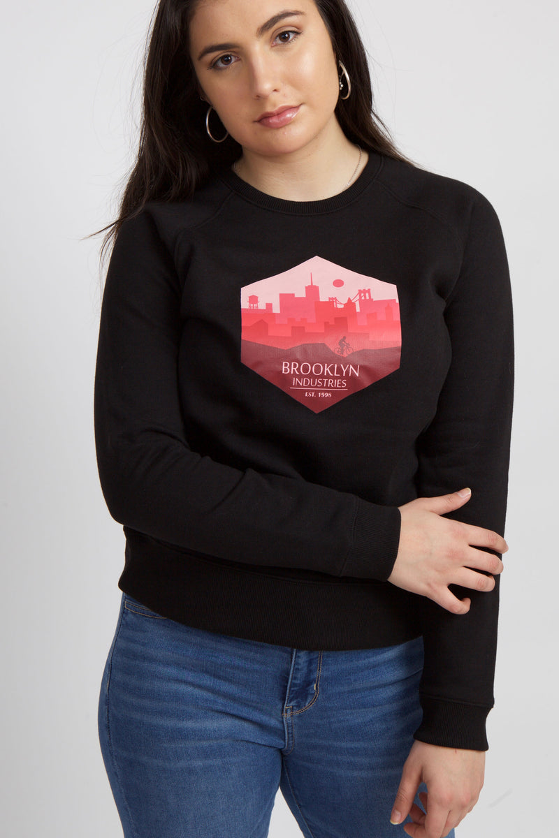 BLACK SWEATSHIRT WITH HEXAGON GRAPHIC IN BURGUNDY AND PINK