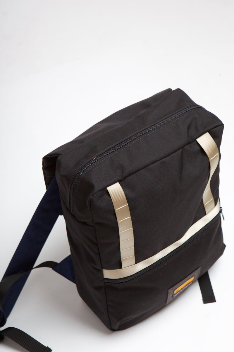 Top view of Mass backpack showing top loaded zipper