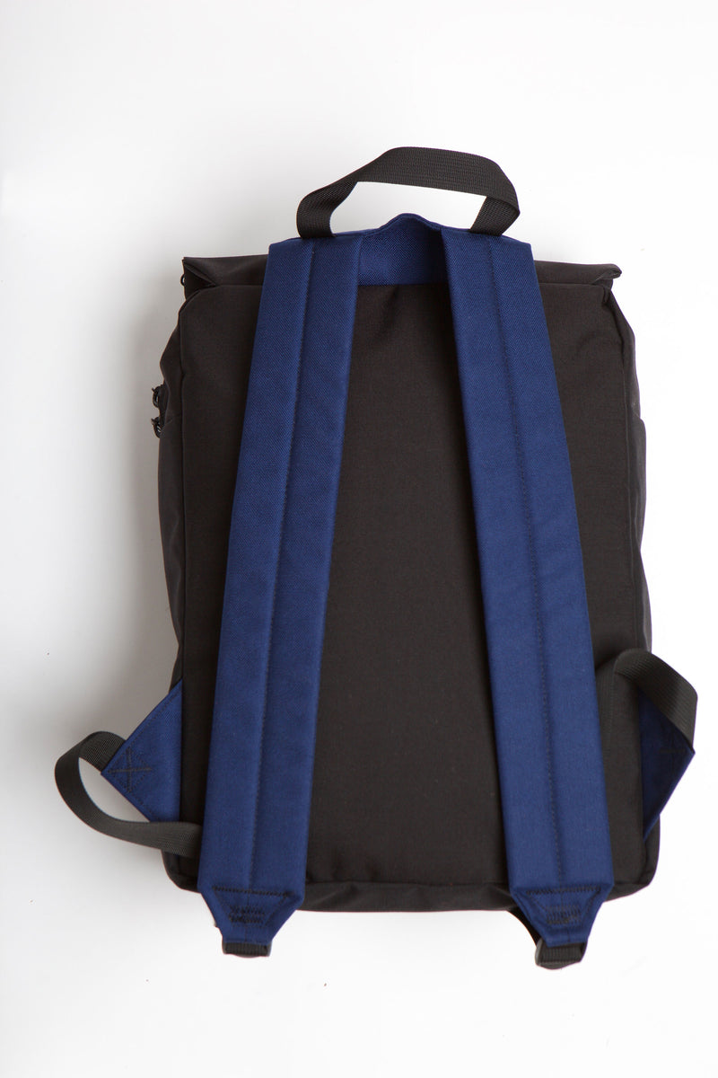 Blue backpack straps, back view of bag