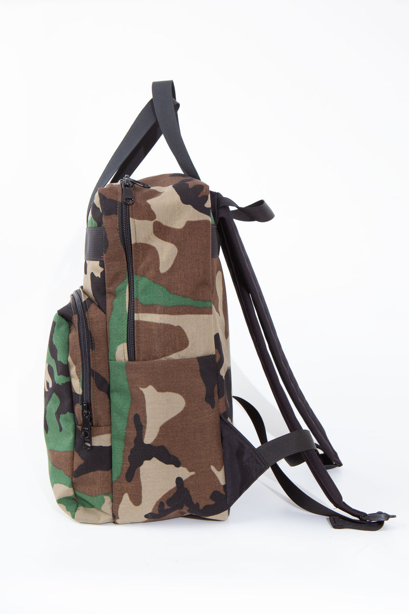 Side view of woodland camouflage backpack