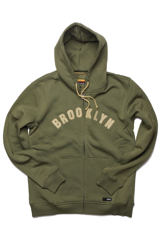 FLAT LAY OF BK APPLIQUE HOODED SWEATSHIRT IN OLIVE