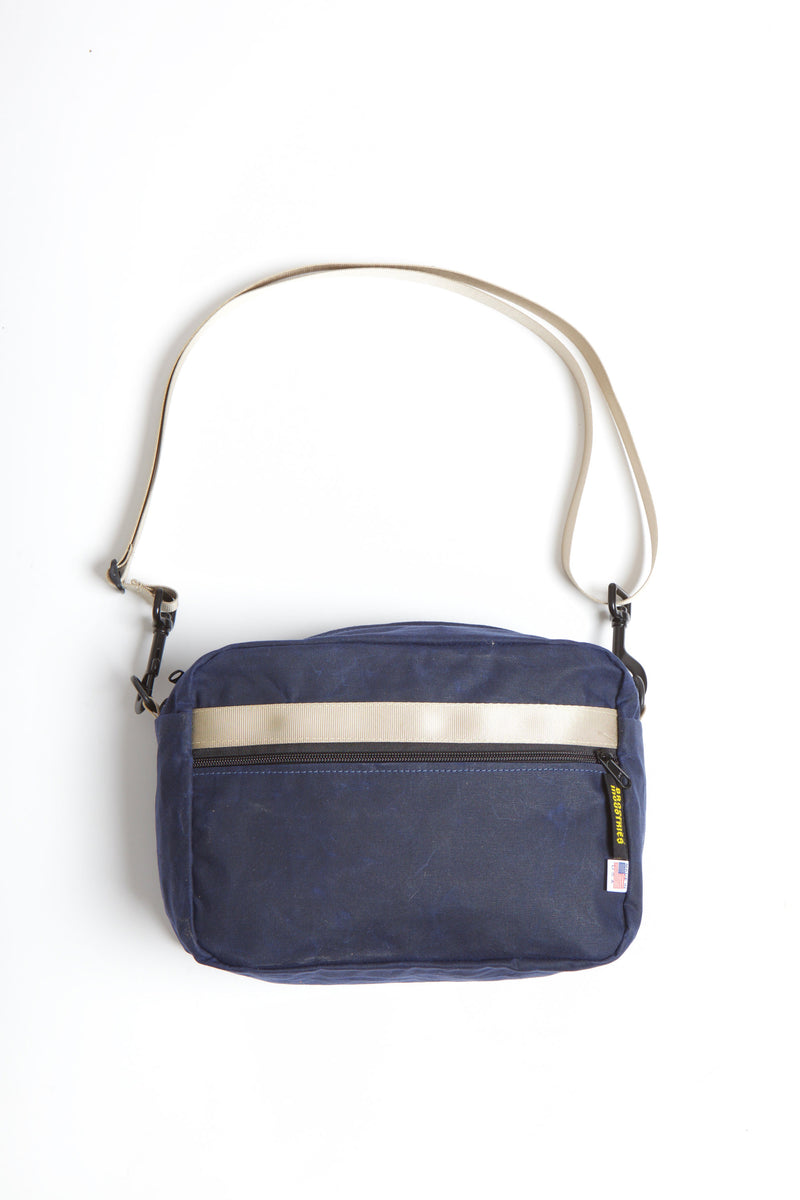 Navy Waxed Canvas Crossbody or Waistpack Bag with Military Grade Webbing