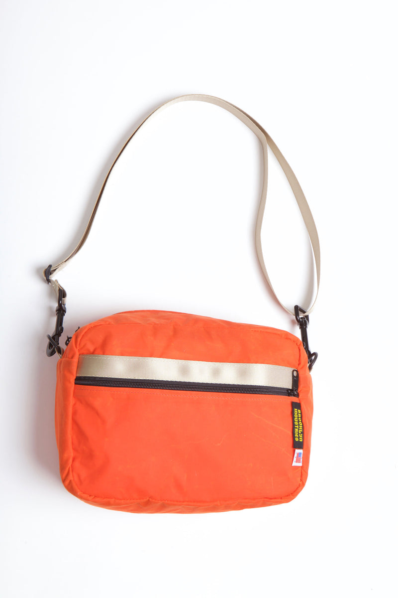 OrangeWaxed Canvas Crossbody or Waistpack Bag with Military Grade Webbing