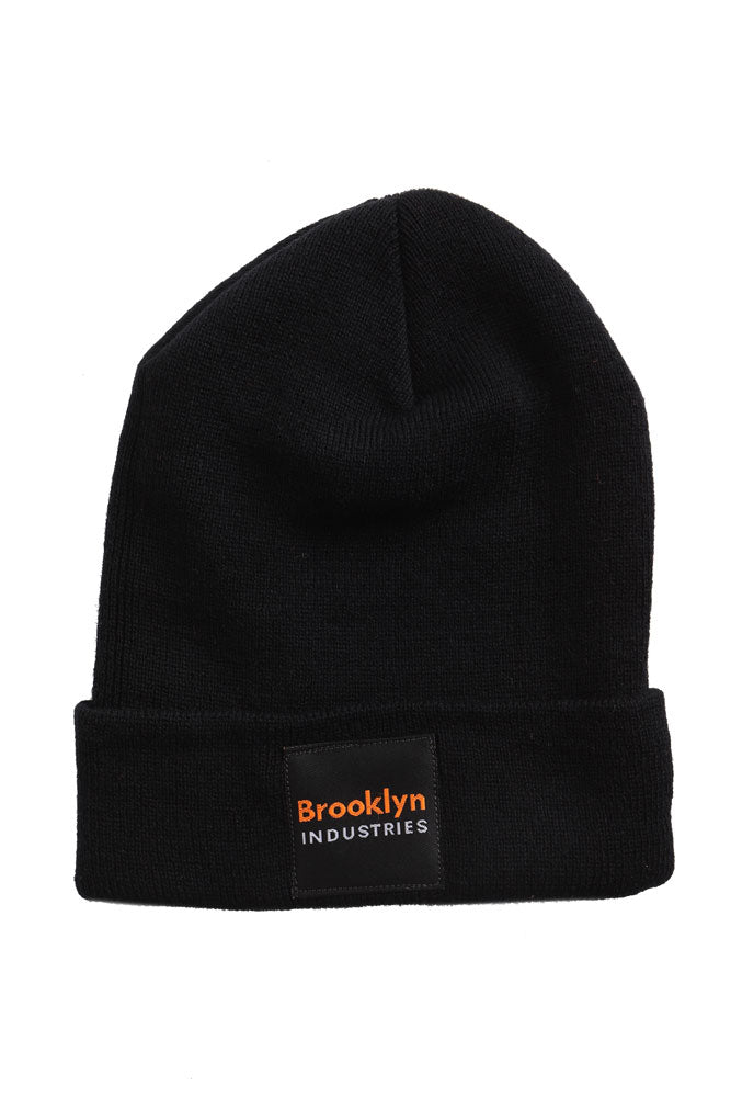 BLACK BEANIE WITH FOLDED EDGE, BLACK AND ORANGE VINTAGE BKI PATCH