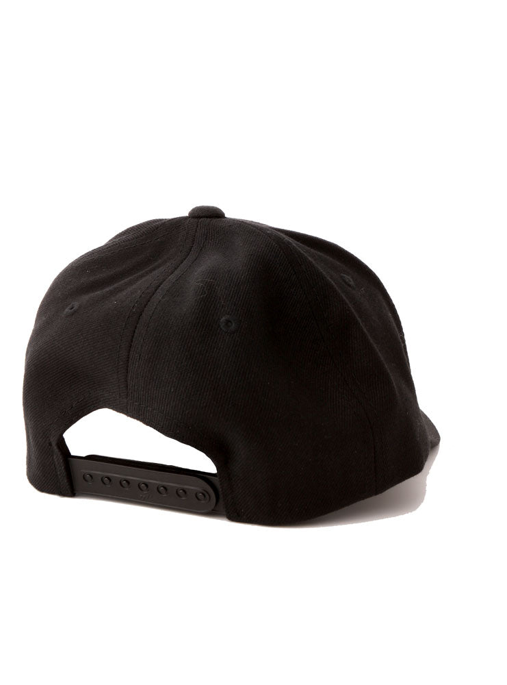 BACK VIEW OF THE BLACK WOOL BK PLATFORM CAP