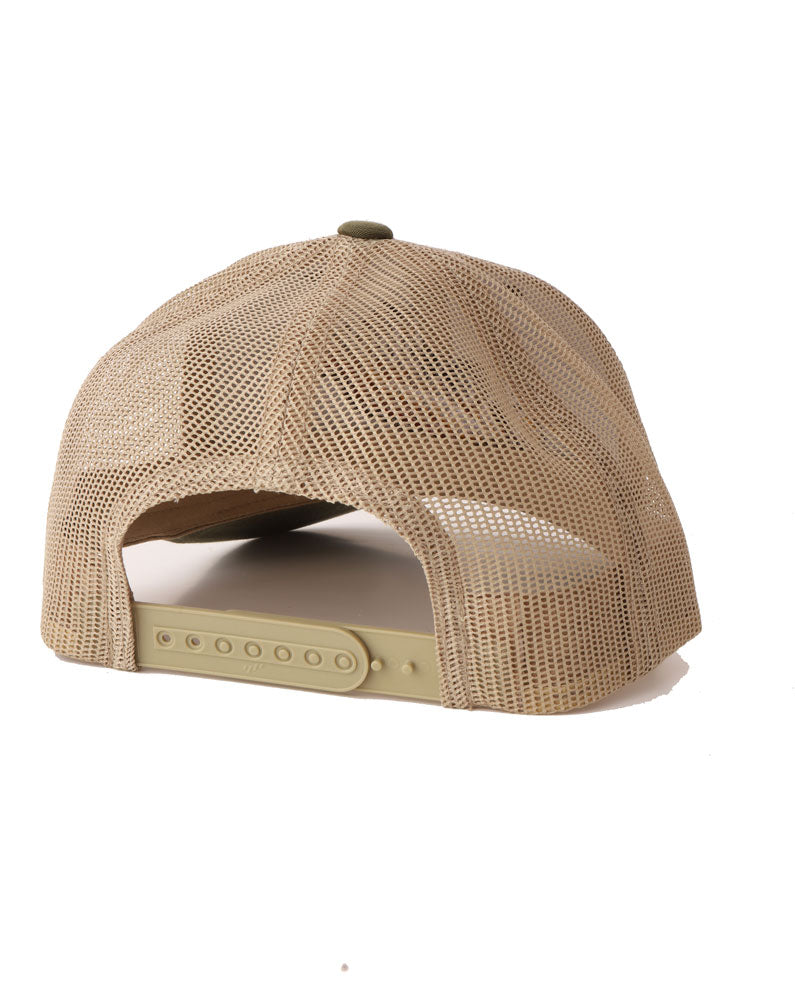 KHAKI MESH BACK OF THE BK PLATFORMS HAT IN OLIVE