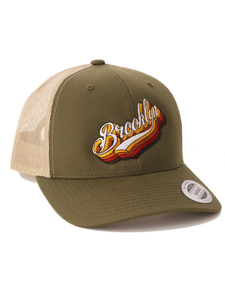 OLIVE BASEBALL CAP WITH WITH KHAKI MESH BACK. BK PLATFORMS GRAPHIC ON THE FRONT