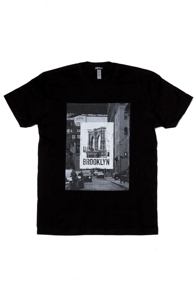 flat lay black t-shirt with This photographic image depicts our favorite bridge layered on top of an iconic Brooklyn street scene.