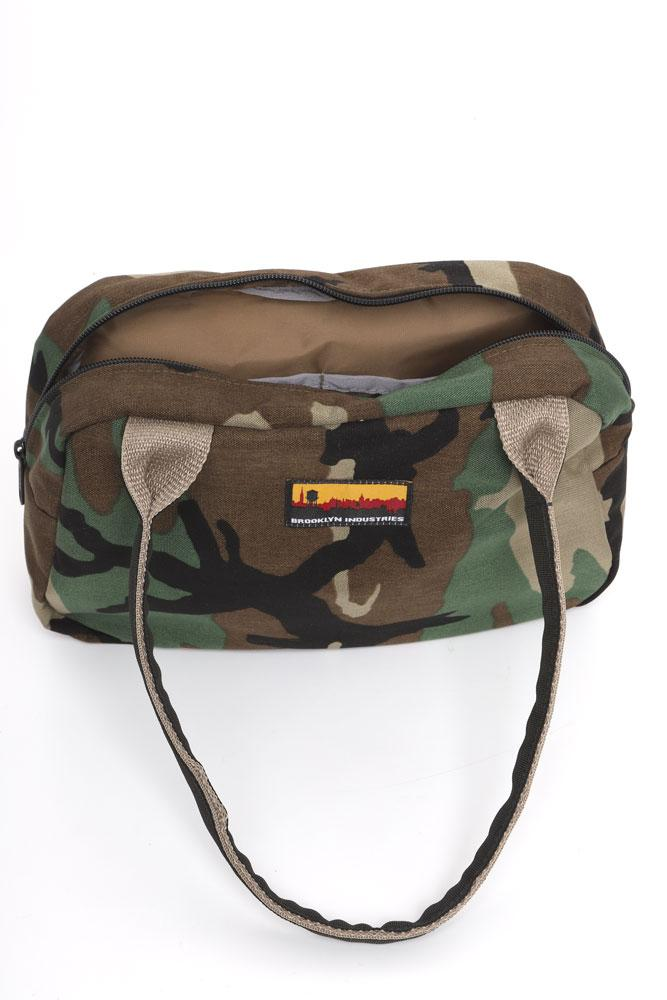 BOWLING BAG FRONT VIEW WOODLAND CAMO OPEN SHOWING KHAKI LINER