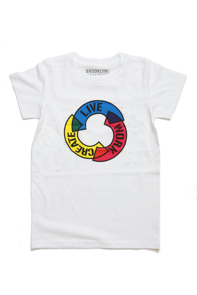 TODDLER SIZED LIVE WORK CREATE T-SHIRT IN WHITE WITH A CMYK RECYCLE TYPE SYMBOL