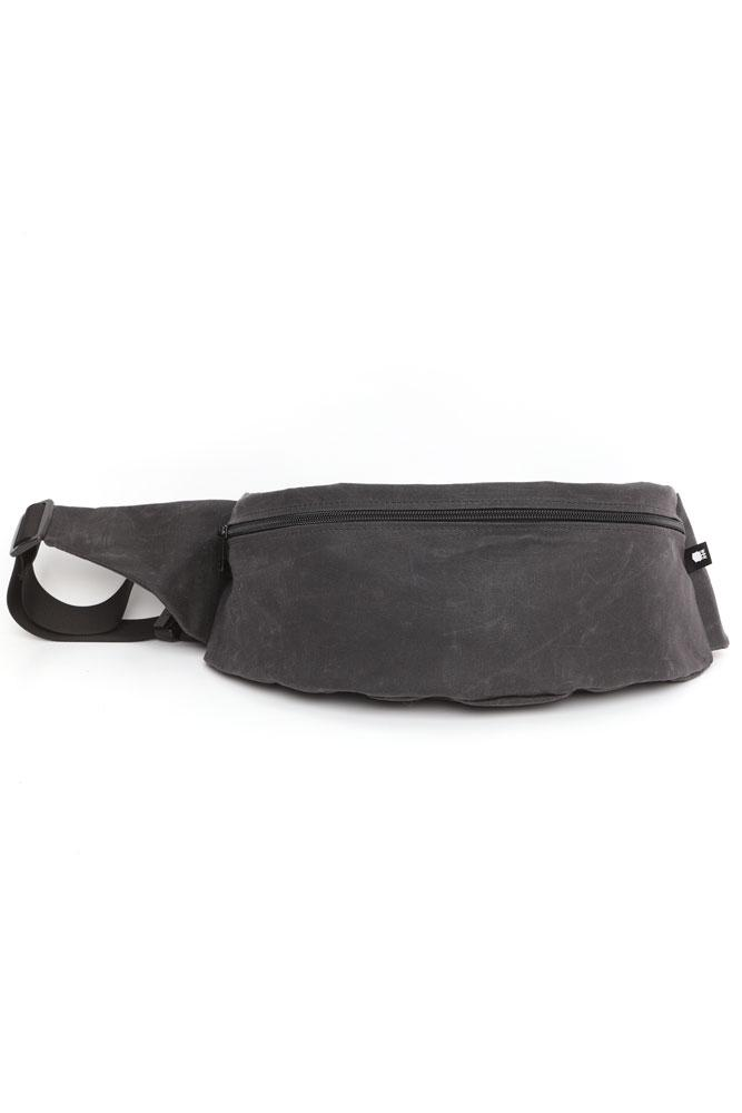 ZEKI WAISTPACK IN COAL WAXED CANVAS FRONT VIEW