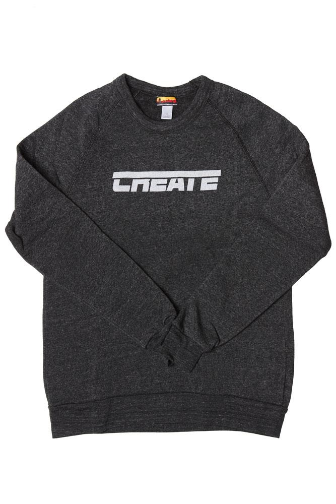 flat lay grey men's sweatshirt with text CREATE on the chest