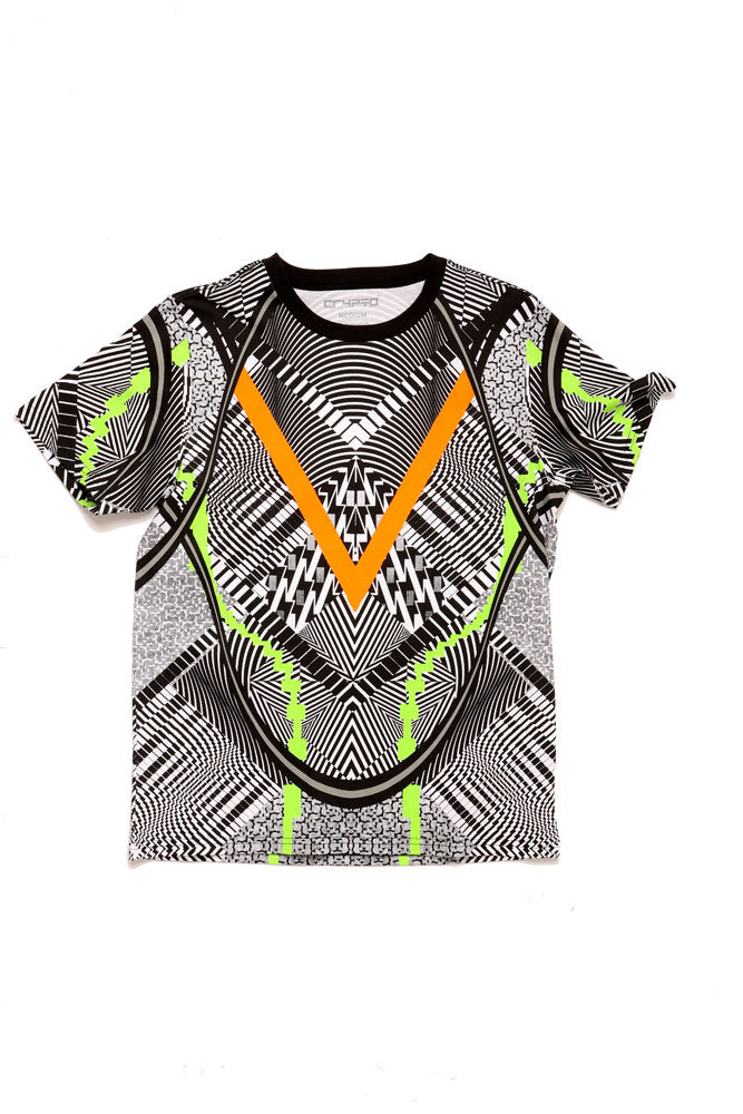 FLAT LAY OF CRYPTO GEO TSHIRT IN BLACK  HEAVY GRAPHIC IN BLACK WHITE ORANGE AND LIME GREEN