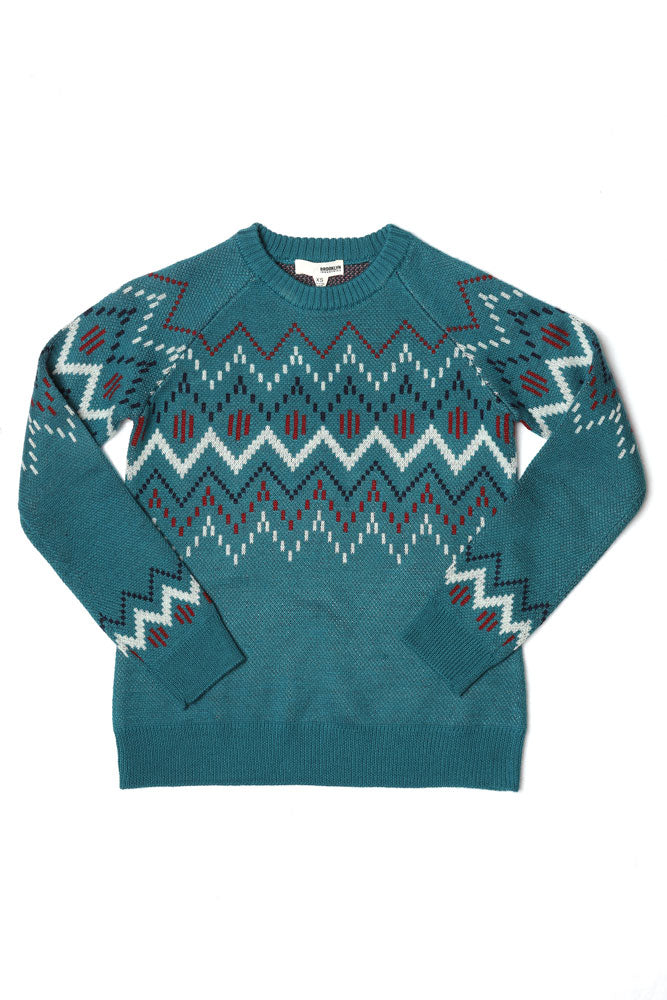FLAT LAY TEAL WOOL BLEND SWEATER WITH GRAPHIC DETAILS ACROSS THE CHEST