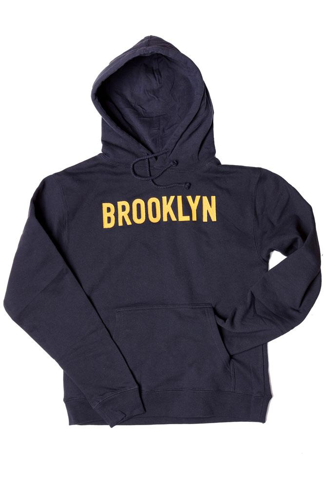 NAVY HOODED SWEATSHIRT WITH YELLOW APPLIQUE LETTERING BROOKLYN ON CHEST