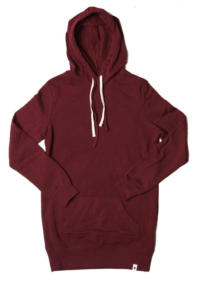 FLAT LAY OF THE CLASSIC FLEECE TUNIC STYLE SWEATSHIRT DRESS IN BURGUNDY