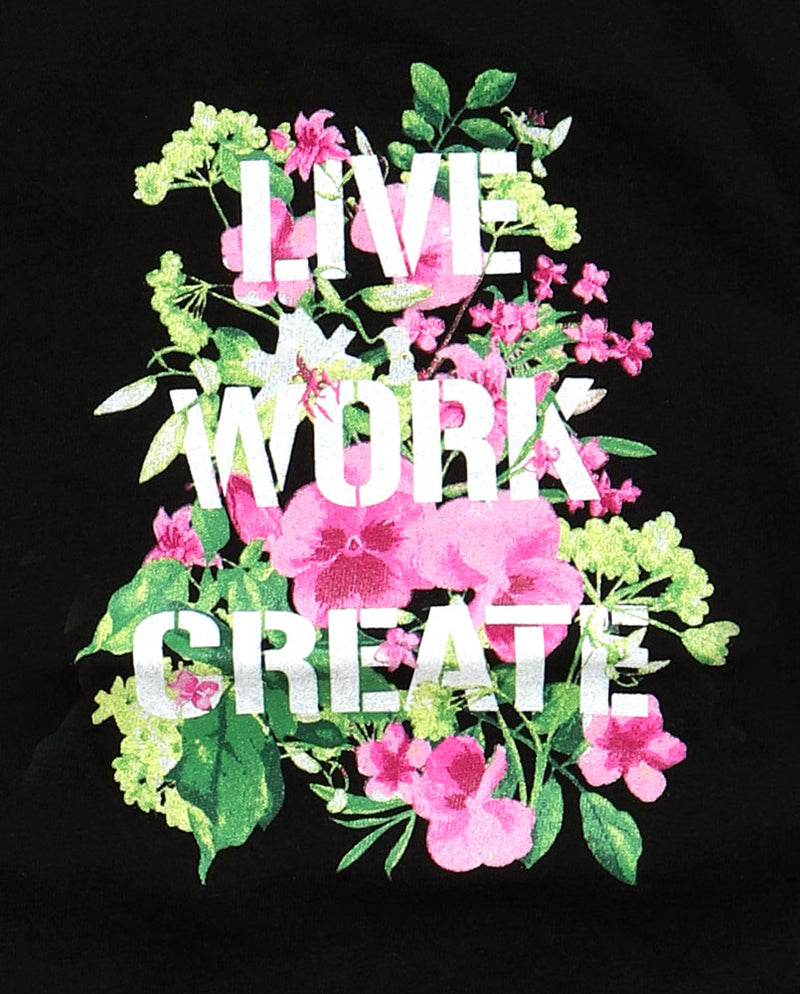 GREEN AND PINK FLOWERING PATTERN WITH THE TEXT LIVE WORK CREATE