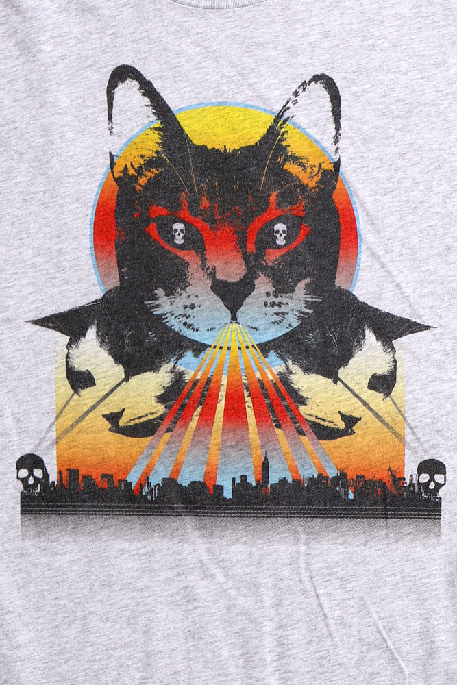 Detail of graphic of demonic cat with skull eyes and a rainbow light surrounding it.