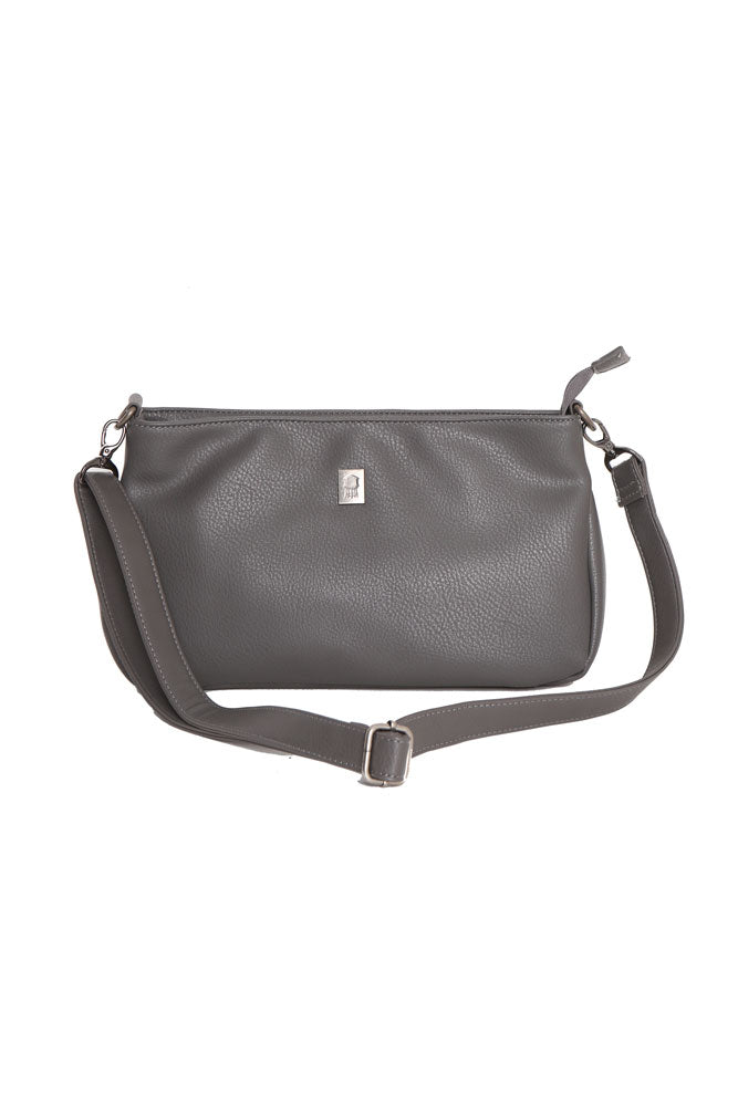 Crossbody vegan bag, in grey, that fits in the tote bag