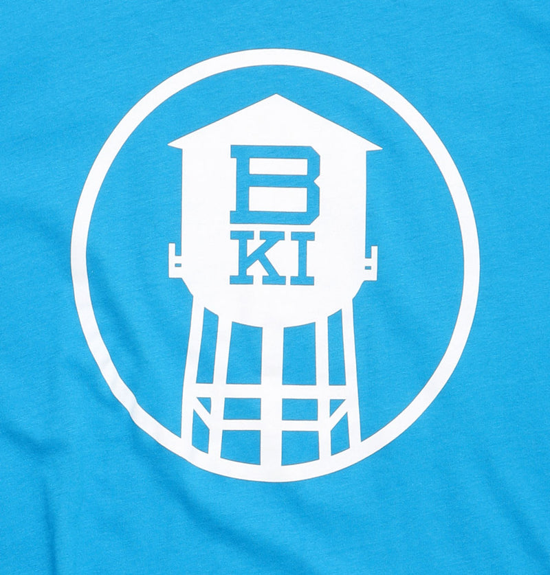 DETAIL BKI HIGH TOWER TSHIRT BRIGHT BLUE WITH WHITE GRAPHIC OF WATERTOWER IN A CIRCLE