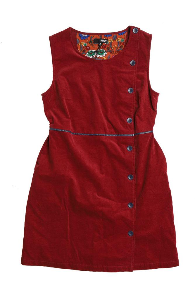 flat lay ruby corduroy dress with button details