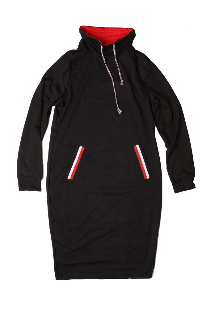 flat lay Black cowl neck long jumper dress with red details and red white and blue faux pocket details, and pull cords.