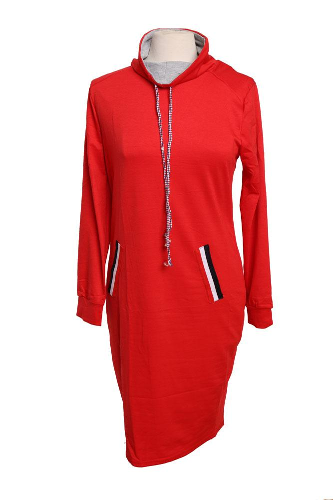 Redcowl neck long jumper dress with grey details and red white and blue faux pocket details, and pull cords.