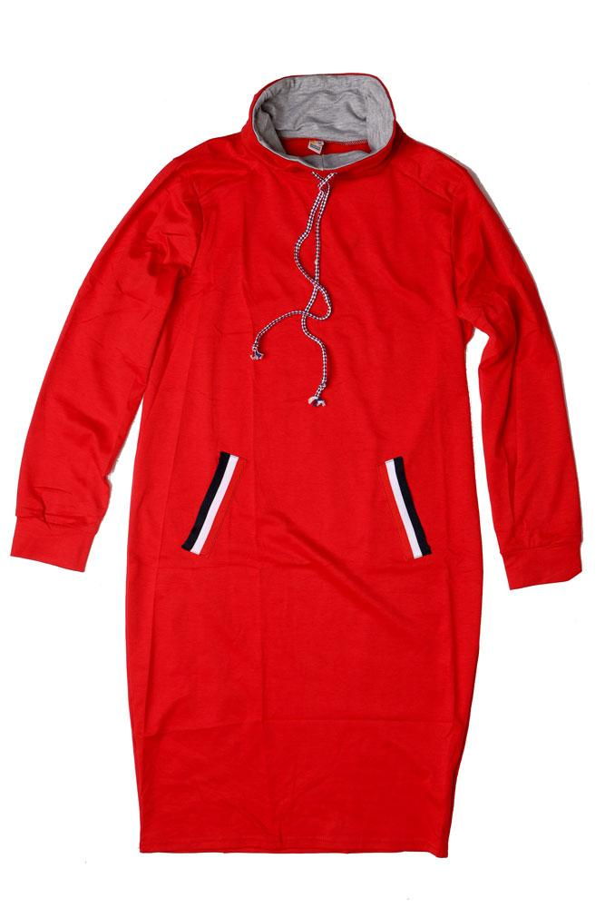 Flat lay of red cowl neck long jumper dress with grey details and red white and blue faux pocket details, and pull cords.