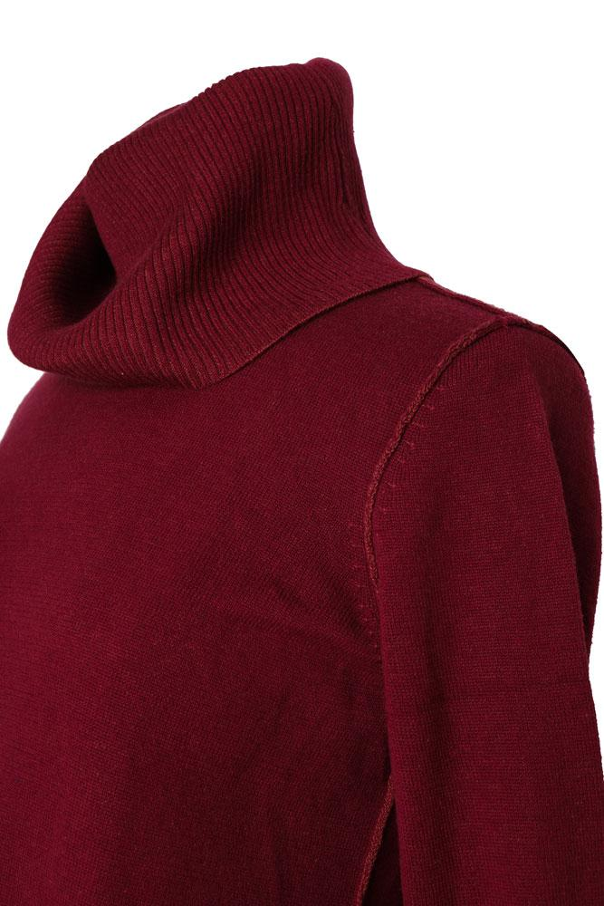 detail of contrasting stitching on Burgundy colored, funnel neck cotton and silk women's sweater