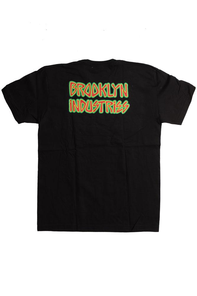 BACK OF LIGHTENING T-SHIRT WITH BROOKLYN INDUSTRIES WRITTEN IN FUNKY FONT.