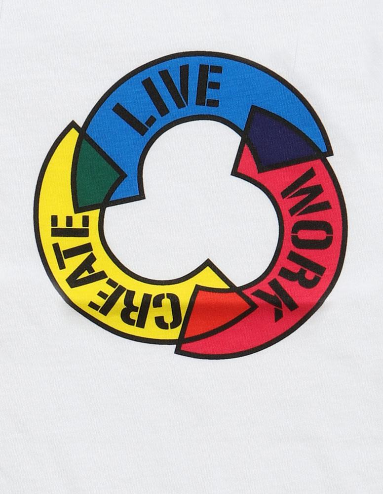 DETAIL OF THE GRAPHIC ON TODDLER WHITE TSHIRT WITH OUR MOTTO LIVE WORK CREATE IN THE ROUND, WITH CMYK COLOR SCHEME