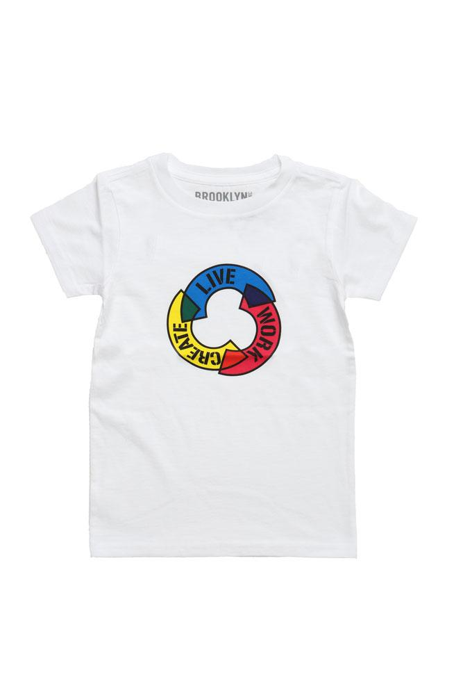 TODDLER WHITE TSHIRT WITH OUR MOTTO LIVE WORK CREATE IN THE ROUND, WITH CMYK COLOR SCHEME