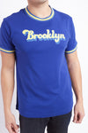 brooklyn ribbed t in blue with yellow accents