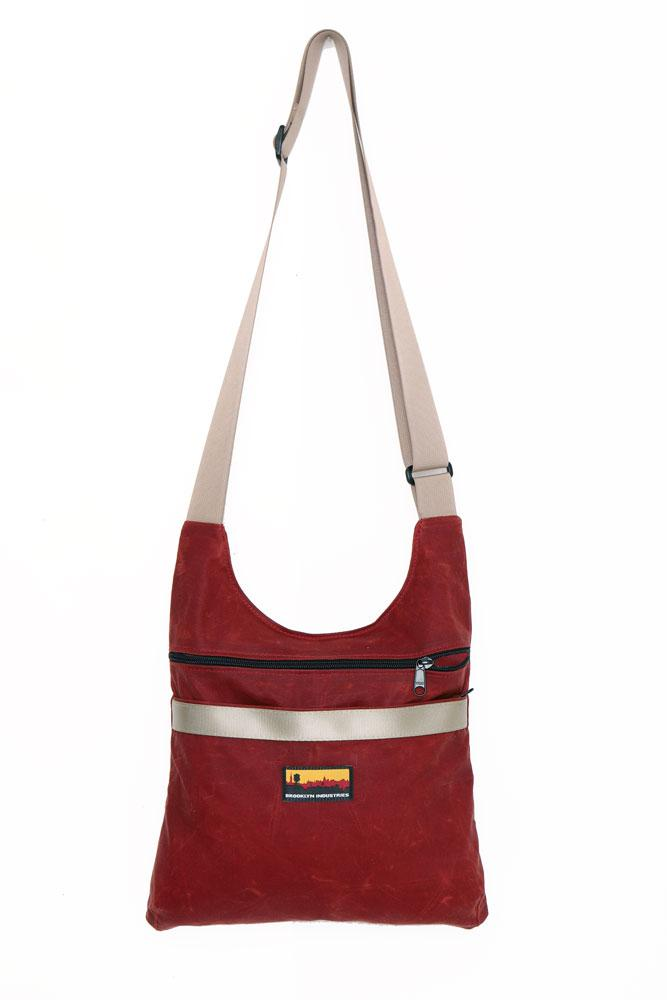 Burgundy Utilitarian Waxed Canvas Shoulder Bag with Military Grade Webbing Strap in khaki