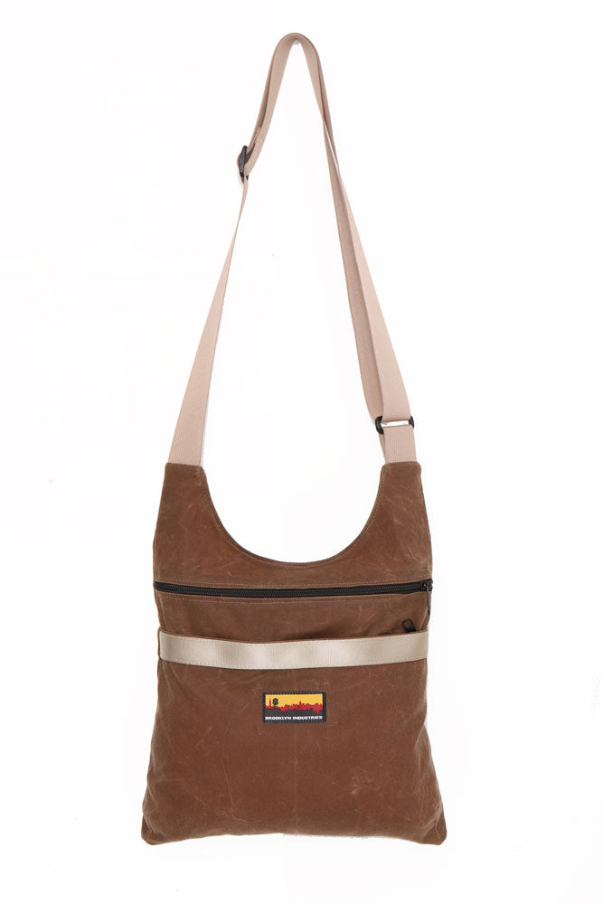 Havanna Utilitarian Waxed Canvas Shoulder Bag with Military Grade Webbing Strap in khaki