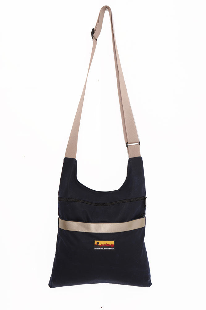 NAVY Utilitarian Waxed Canvas Shoulder Bag with Military Grade Webbing Strap in khaki