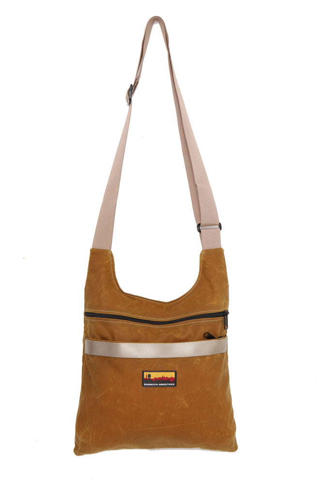 Toast colored Utilitarian Waxed Canvas Shoulder Bag with Military Grade Webbing Strap in khaki