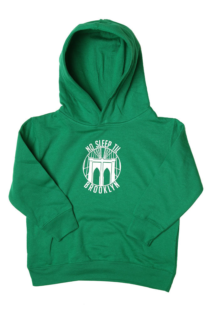 Flay lay kelly green toddler sized hooded sweatshirt with the Round No Sleep logo in white.